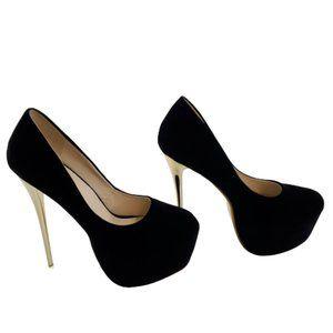 Mabeiki Black High Heel Women's Line-Style Buckle